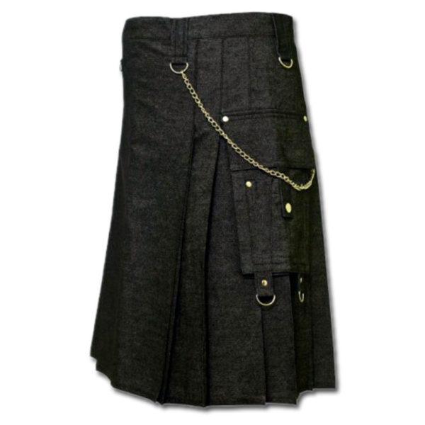 Black Denim Digital Fashion Kilt-1