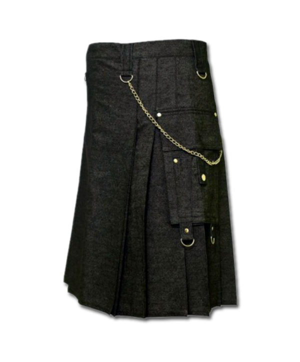 Black Denim Digital Fashion Kilt-1