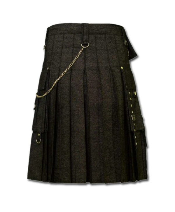 Black Denim Digital Fashion Kilt-2