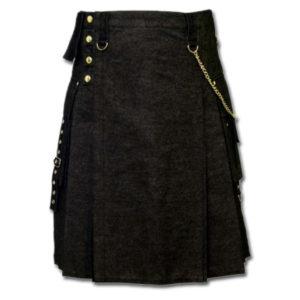 Black Denim Digital Fashion Kilt-3