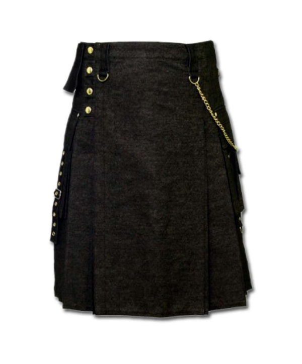 Black Denim Digital Fashion Kilt-3