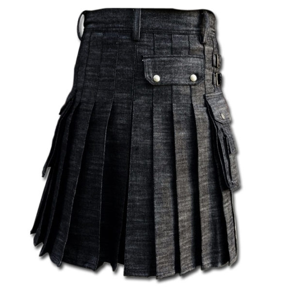 Black Denim Utility Kilt-Black 2