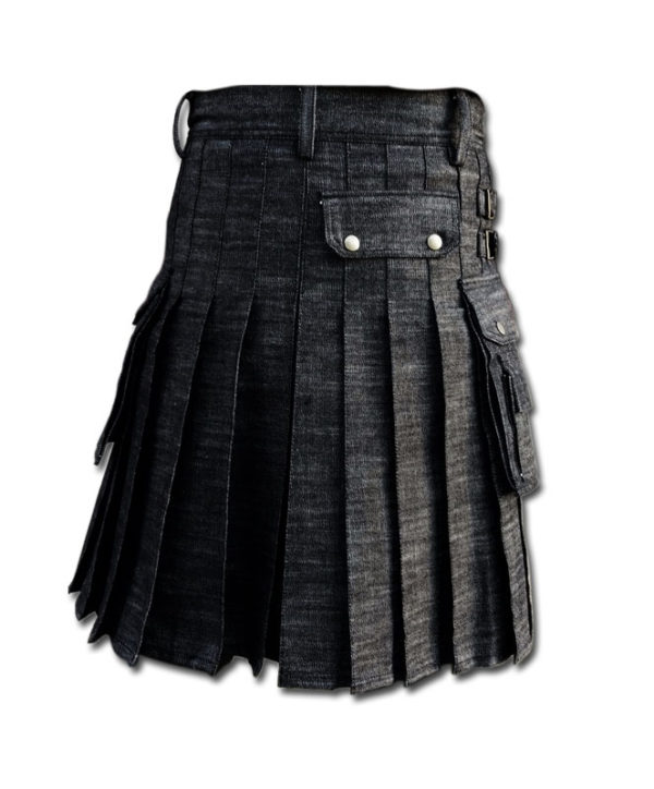 Black Denim Utility Kilt-Black 2