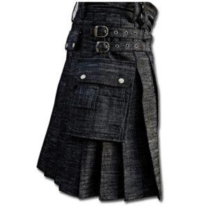Black Denim Utility Kilt-black 1