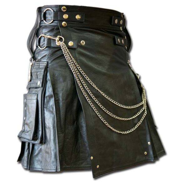 Casual Leather Kilt for Sexy Men
