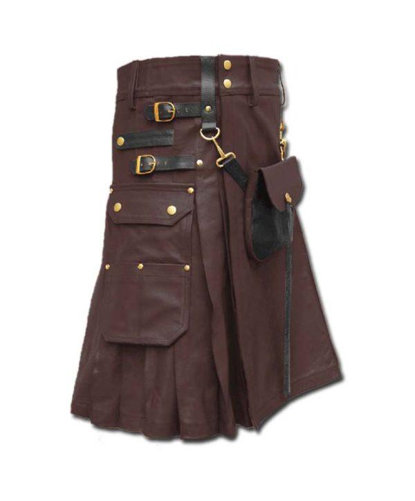 Celtic Leather Kilt with Leather Sporran-dark brown