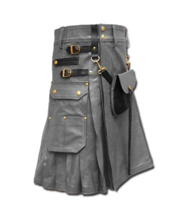 Celtic Leather Kilt with Leather Sporran-grey