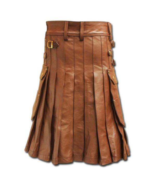 Celtic Leather Kilt with Leather Sporran-light brown 1