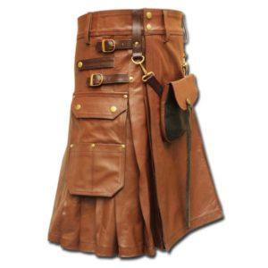 Celtic Leather Kilt with Leather Sporran-light brown 2