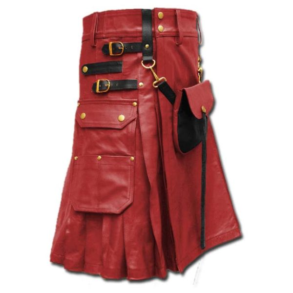 Celtic Leather Kilt with Leather Sporran-red
