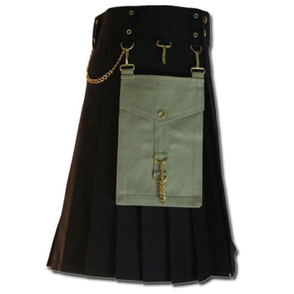 Contrast Pocket Kilt for Royal Men black2