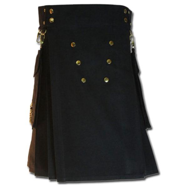Contrast Pocket Kilt for Royal Men black3