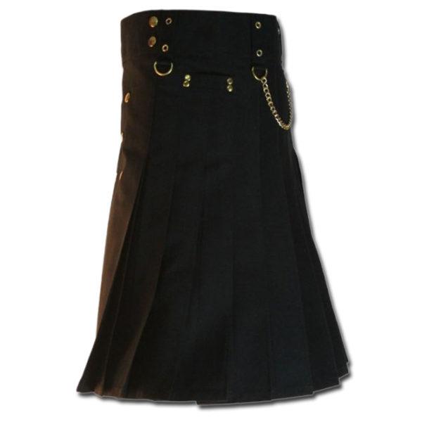 Contrast Pocket Kilt for Royal Men black4