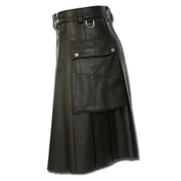 Deluxe Leather Kilt with Stylish Pockets-2