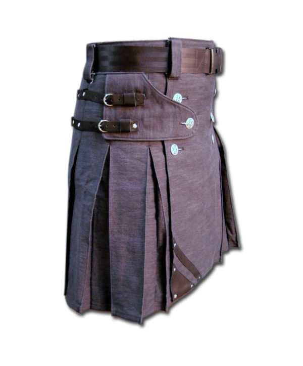 Denim and Leather Kilt-1