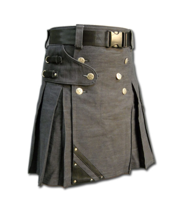 Denim and Leather Kilt-2