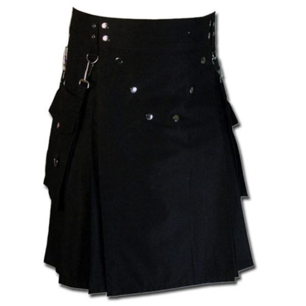 Detachable Pockets Kilt for Running Man black