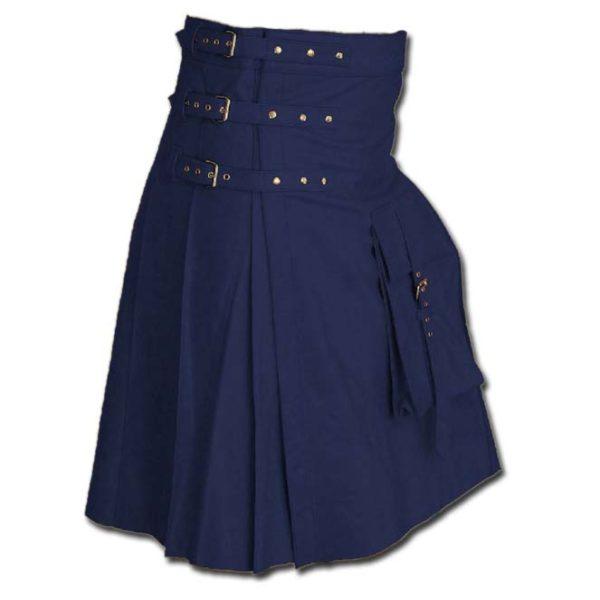 Fancy Fluttering Leather Kilt-Blue