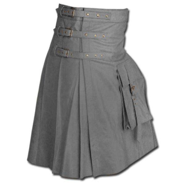Fancy Fluttering Leather Kilt-Grey