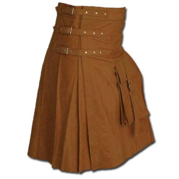 Fancy Fluttering Leather Kilt-Light Brown