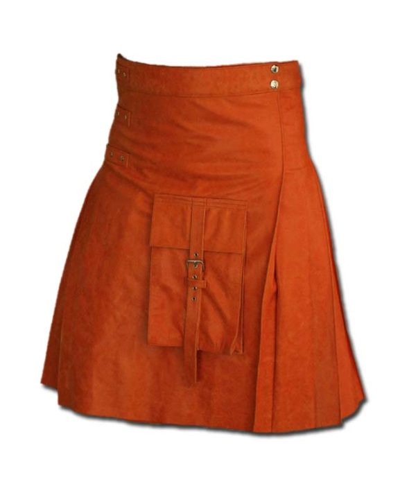 Fancy Fluttering Leather Kilt-Orange 1