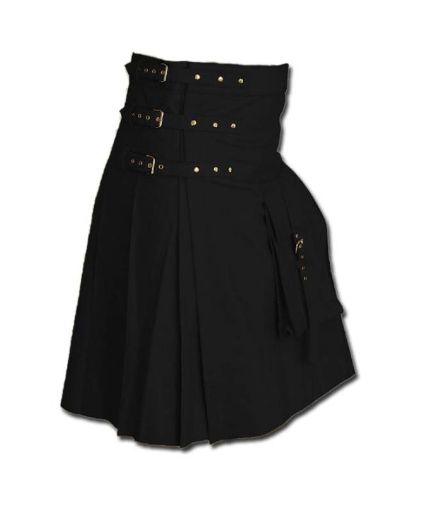 Fancy Fluttering Leather Kilt-black