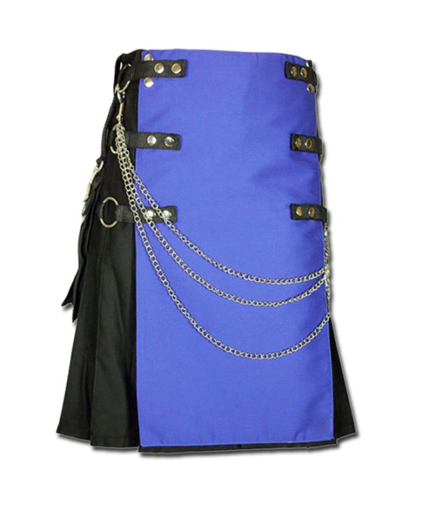 Fashion Kilt with Multi Color Pockets blue black