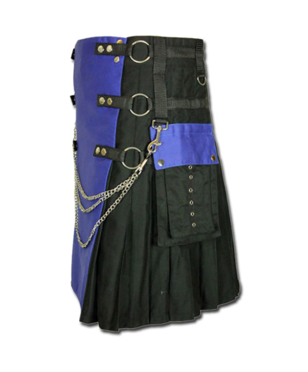 Fashion Kilt with Multi Color Pockets blue black1