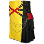 Fashion Kilt with Multi Color Pockets yellow black2