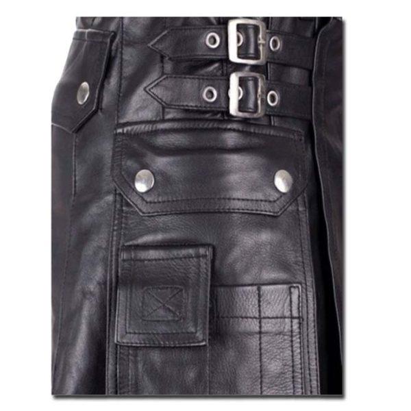Leather Kilt with Twin Cargo Pockets-2