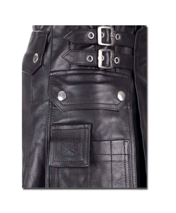 Leather Kilt with Twin Cargo Pockets-2