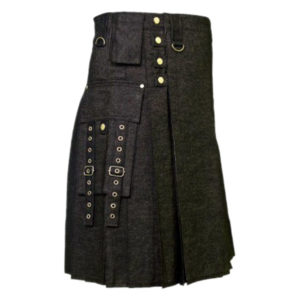 Men's Black Denim Modern Kilt-1