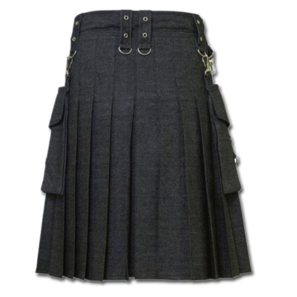 Men's Black Denim Modern Kilt-2