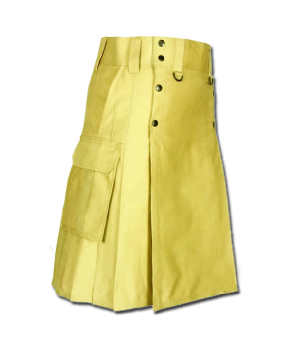 Slash Pocket Kilt for Elegant Men yellow 1