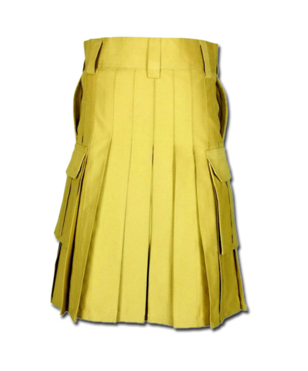 Slash Pocket Kilt for Elegant Men yellow 3