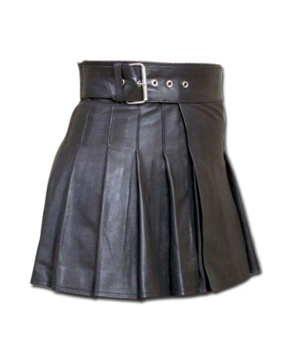 Wrap Around Leather Mini Kilt-1