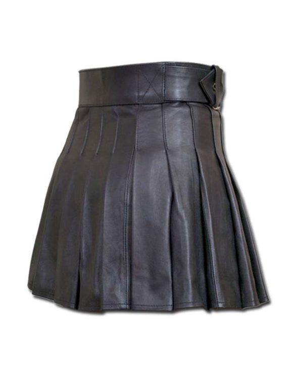 Wrap Around Leather Mini Kilt-2