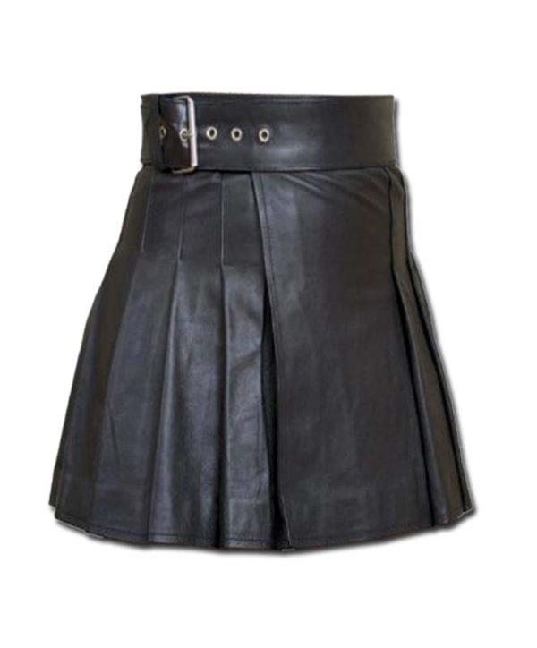 Wrap Around Leather Mini Kilt-3