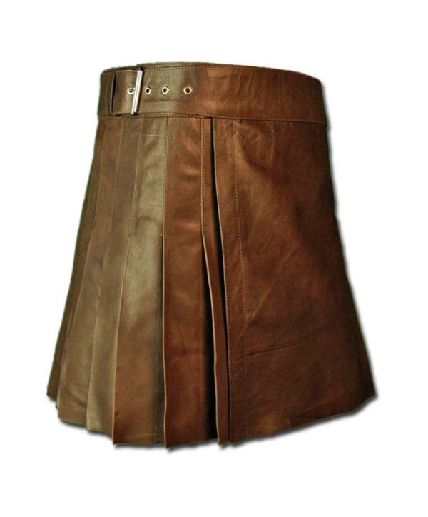 Wrap Around Leather Mini Kilt-4
