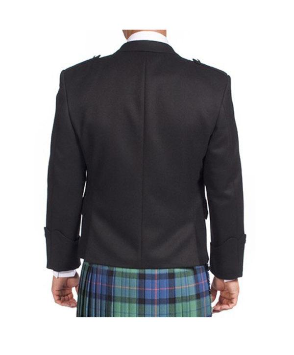 Black Argyle Jacket With 5 Button Vest-3