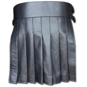 Black Mini Leather Gladiator Kilt with Studs-2