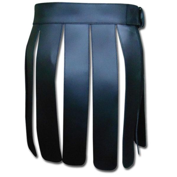 Black Short Leather Gladiator Kilt-1