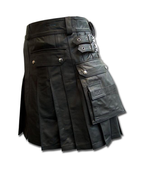 Black leather kilt