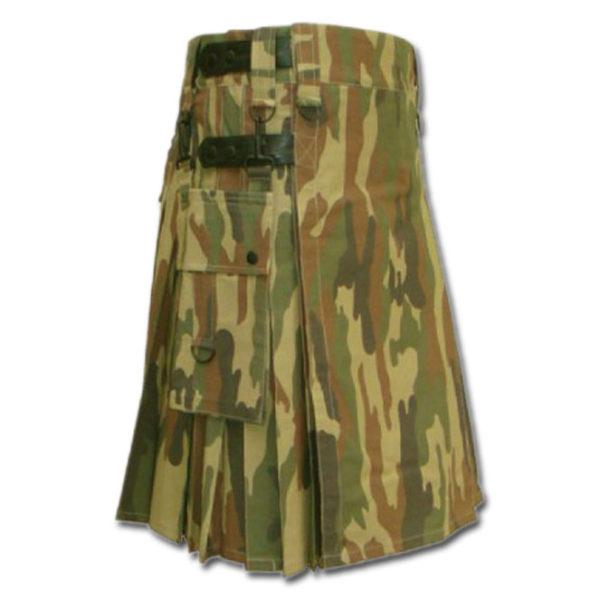 Leather Strap Camo Utility Fashion Kilt