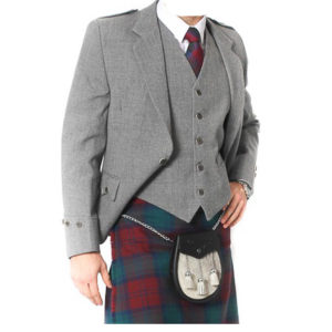 Light Grey Tweed Argyle Jacket And 5 Button Vest
