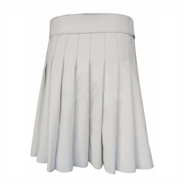 short-mini-white-leather-kilt-back