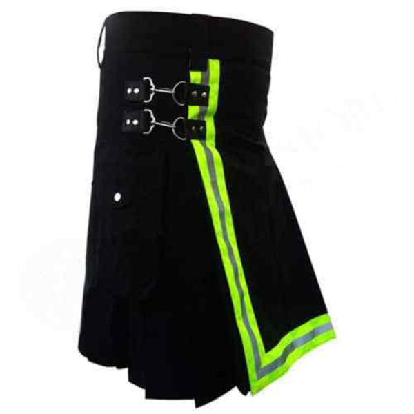 Black-Firefighter-Kilt-with-high-visible-reflector-side