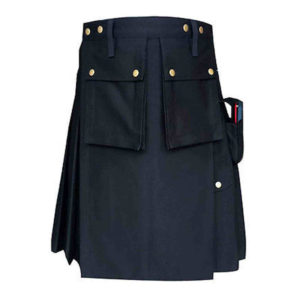 Black-Formal-Police-Utility-Kilt-back