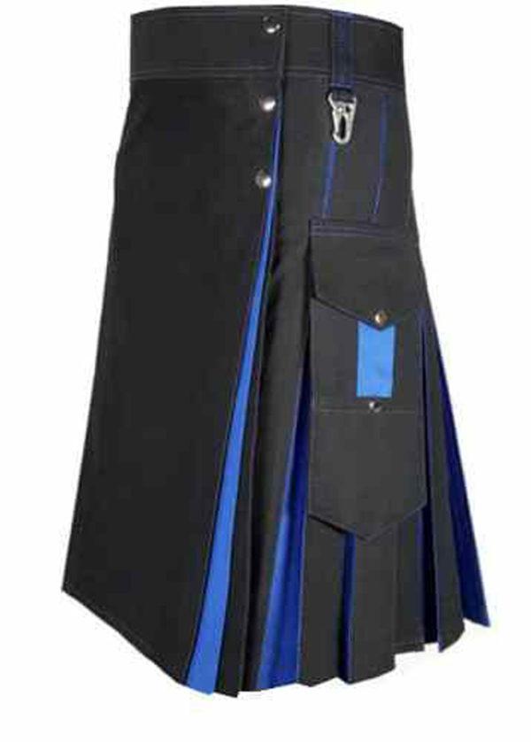 Conquest-Traditional-Black-Blue-Hybrid-Kilt-side