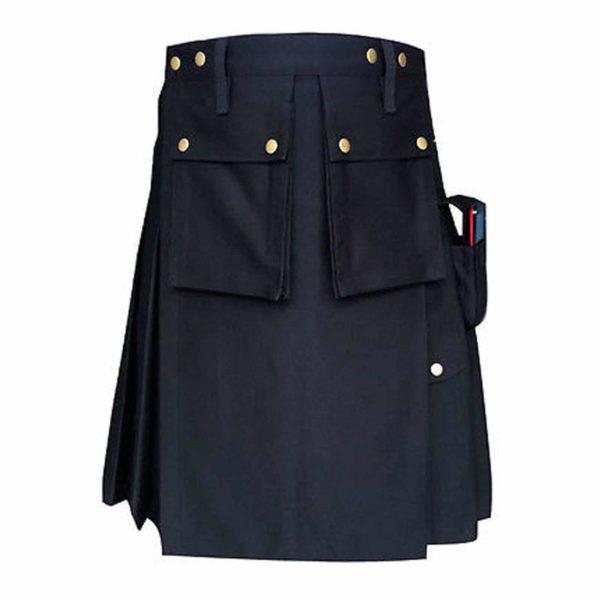 Black-Formal-Police-Utility-Kilt-back